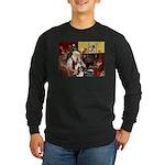 Santas Two Shelties (dl) Long Sleeve Dark T-Shirt