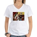 Santas Two Shelties (dl) Women's V-Neck T-Shirt