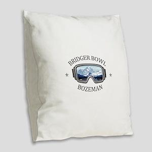 Bridger Bowl - Bozeman - Mon Burlap Throw Pillow