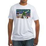 Xmas Magic / 2 Shelties (dl) Fitted T-Shirt