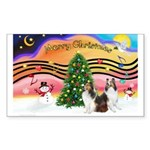 Xmas Music / 2 Shelties Sticker (Rectangle)