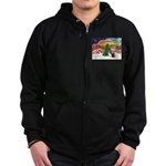 Xmas Music / 2 Shelties Zip Hoodie (dark)
