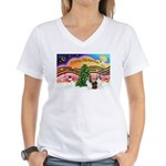 Xmas Music / 2 Shelties Women's V-Neck T-Shirt