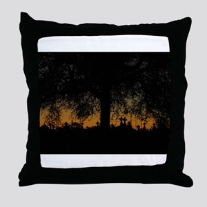 New Orleans Cemetary Sunset Throw Pillow