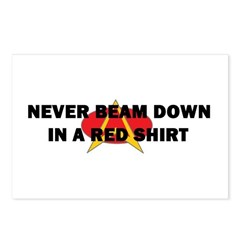 Never beam down in a red shir Postcards (Package o