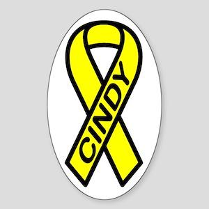 CINDY - Yellow Ribbon Oval Sticker