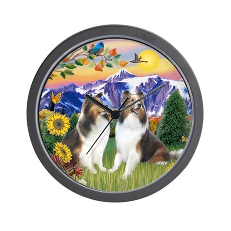 Mt Country/2 Shelties Wall Clock
