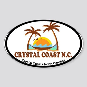 Crystal Coast NC - Palm Trees Design. Sticker (Ova