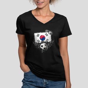 Soccer Fan South Korea Women's V-Neck Dark T-Shirt