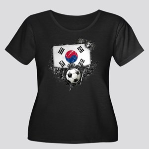 Soccer Fan South Korea Women's Plus Size Scoop Nec