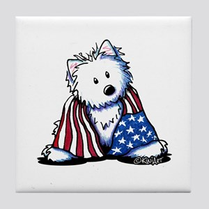 Patriotic Westie Tile Coaster