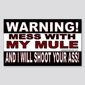 Warning Mule Sticker (Rectangle)