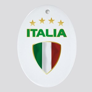 Soccer Crest ITALIA gold Ornament (Oval)