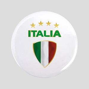 """Soccer Crest ITALIA gold 3.5"""" Button"""