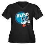 Blind Ali Women's Plus Size V-Neck Dark T-Shirt
