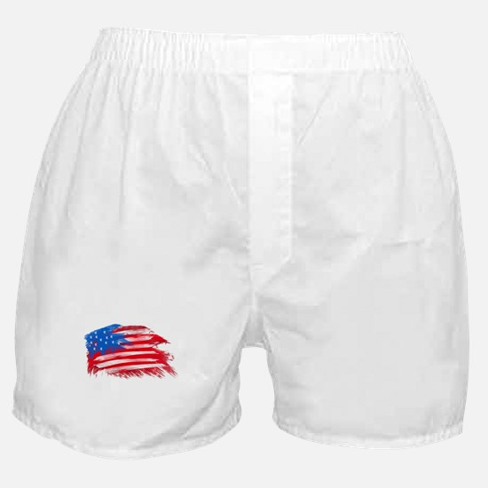 US Flag - White Background Boxer Shorts