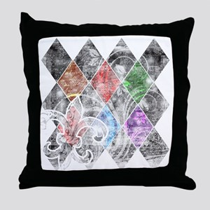 Argyle Grunge Throw Pillow