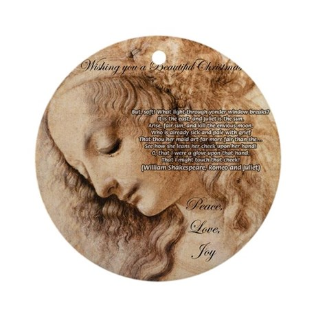 Christmas Shakespeare Da Vinci Ornament (Round)