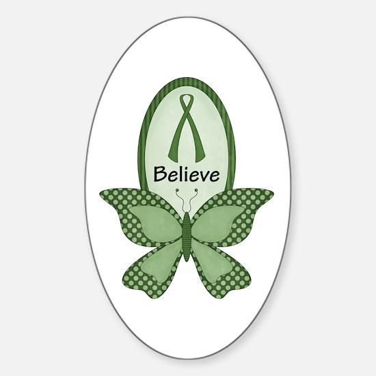 Believe- Green Ribbon Sticker (Oval)