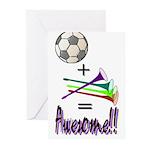 Greeting Cards (Pk of 10) Soccer + Vuvuzelas = Awe