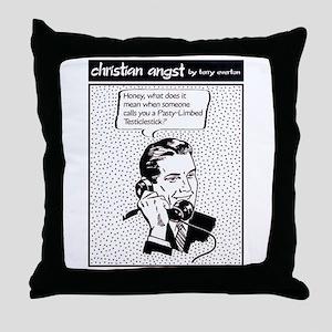 Pasty-Limbed Testiclestick Throw Pillow