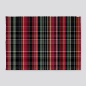 Red Green And Black Plaid 5'x7'area Rug
