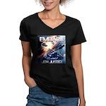 EMBARK COVER LOGO Women's V-Neck Dark T-Shirt