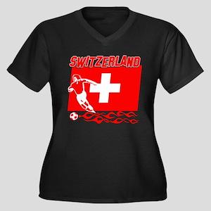 Swiss soccer Women's Plus Size V-Neck Dark T-Shirt