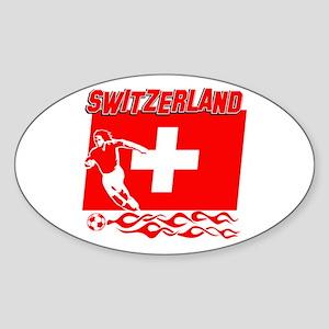 Swiss soccer Sticker (Oval)
