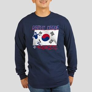 South Korean soccer Long Sleeve Dark T-Shirt