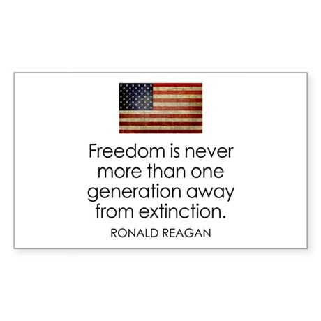 Freedom is never more... Sticker (Rectangle)