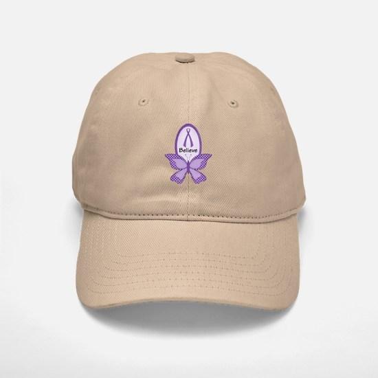 Believe- Purple Ribbon Baseball Baseball Cap