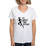 Cardio time... Women's V-Neck T-Shirt