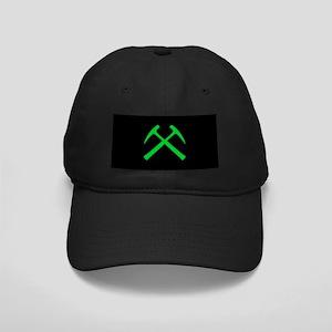 Crossed Rock Hammers (green) Black Cap
