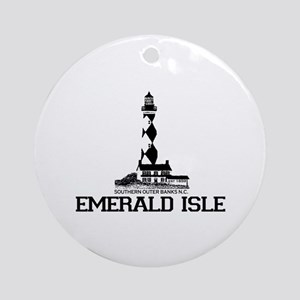 Emerald Isle NC - Lighthouse Design Ornament (Roun