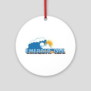 Emerald Isle NC - Waves Design Ornament (Round)