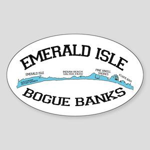 Emerald Isle NC - Map Design Sticker (Oval)