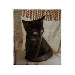 Little Black Kitten Throw Blanket