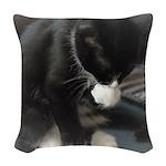 Tuxedo Kitten Woven Throw Pillow