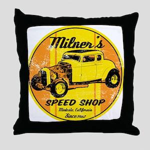 Milner's Speed Shop Throw Pillow
