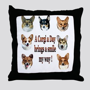 A Corgi a Day Brings a Smile Throw Pillow