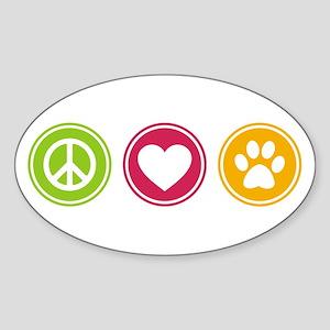 Peace - Love - Dogs Sticker (Oval)