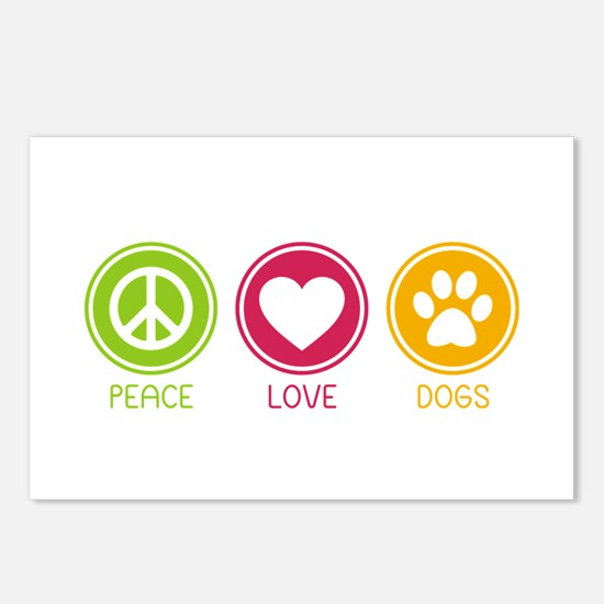 Peace - Love - Dogs 1 Postcards (Package of 8)