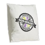 Certified Non-Binary Stamp Burlap Throw Pillow