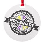 Certified Non-Binary Stamp Round Ornament