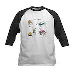 Cats on Bikes Kids Baseball Jersey
