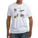 Cats on Bikes Fitted T-Shirt