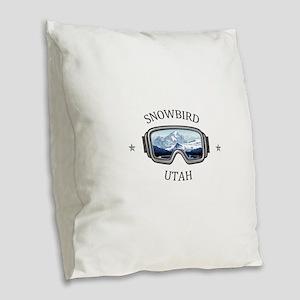 Snowbird - Snowbird - Utah Burlap Throw Pillow