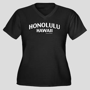 Honolulu Hawaii Women's Plus Size V-Neck Dark T-Sh