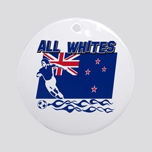 All Whites New Zealand soccer Ornament (Round)